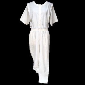 Vintage Pants - Vintage Catalina White Jumpsuit Mechanic Coveralls